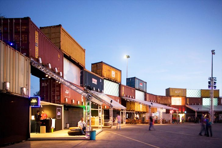 Illuminated Shipping Container Wall Is A Temporary Music