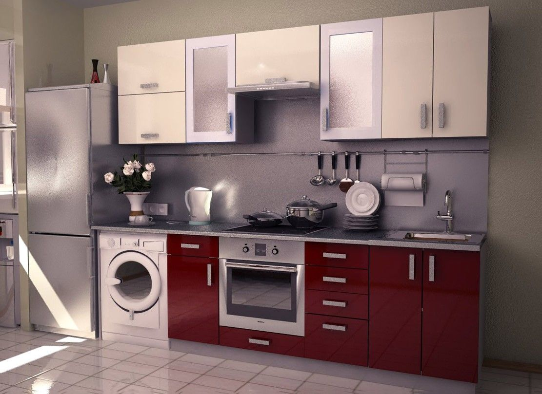 Interesting Small Modular Kitchens : Marvelous Small Red White Modular  Kitchen Interior Designs Furniture Ideas With Compact Cabinets And Complete  Kitchen ...