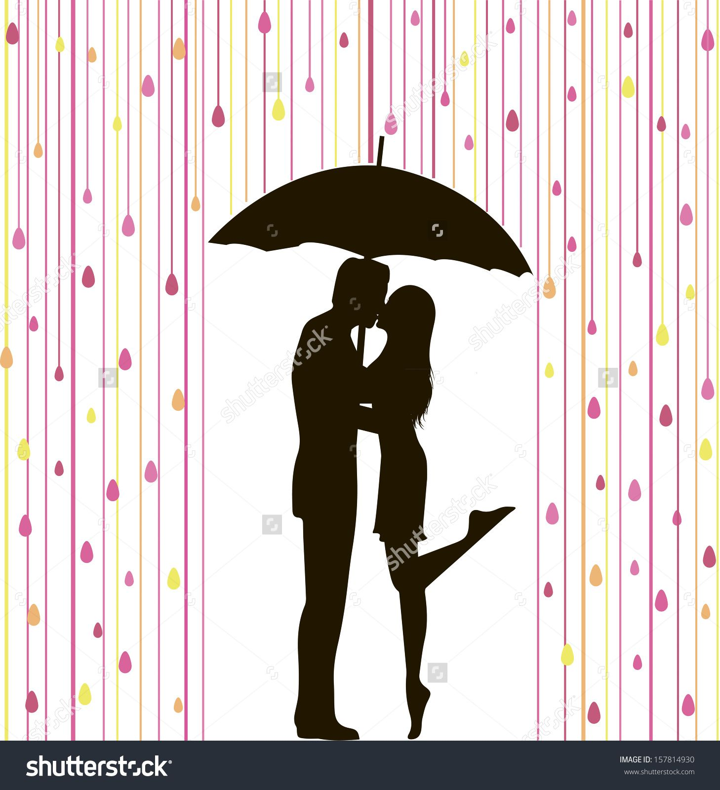 Couple Kissing Silhouette Umbrella Couple Kissing Silhouette Stock