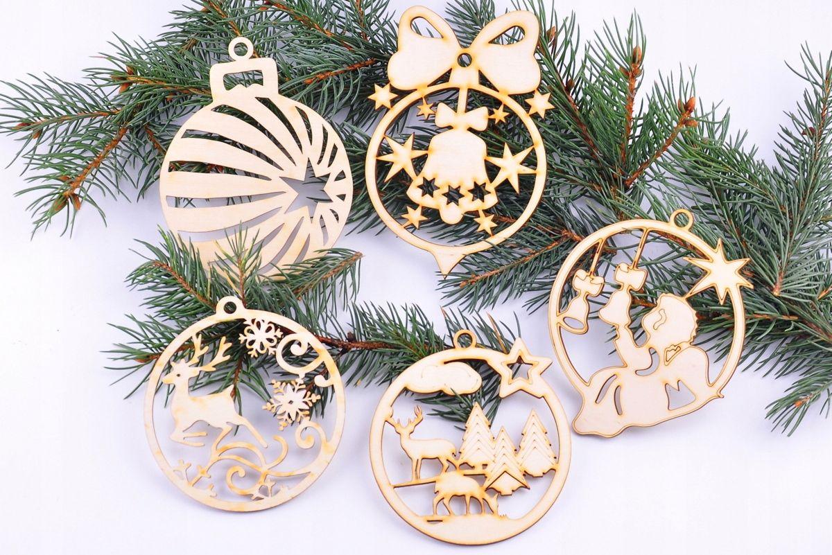 Bombki Ze Sklejki Banki Dekory Na Choinke Zestaw 7646859668 Oficjalne Archiwum Allegro Wooden Christmas Decorations Christmas Ornaments Christmas Tree Decorations