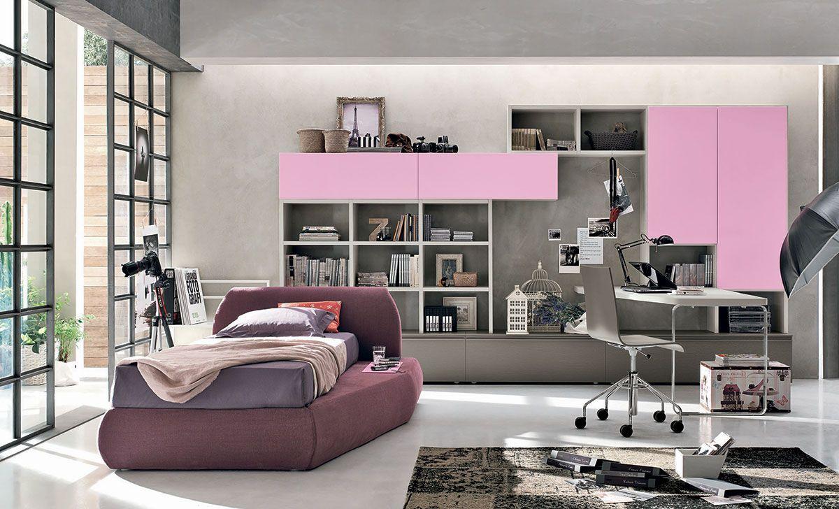 Composizione t18 con letto rock for Camerette teenager