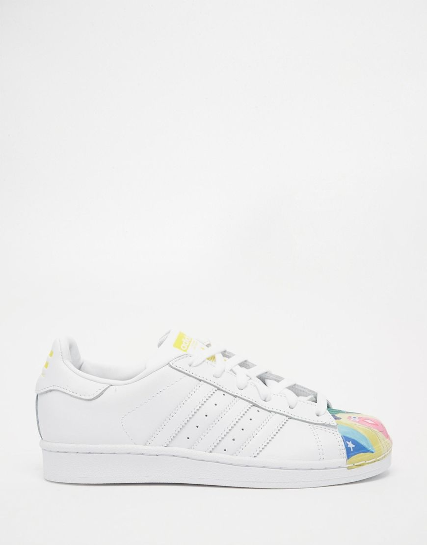 Image 2 ofadidas Originals Pharrell Williams X Todd James White Leather Supershell Superstar Trainers