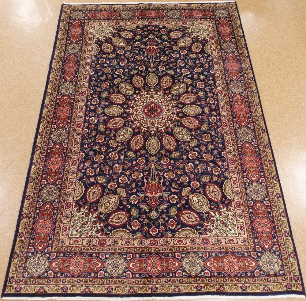 7 X 10 Persian Tabriz Hand Knotted Wool Navy Red Fine Oriental Area Rug Carpet