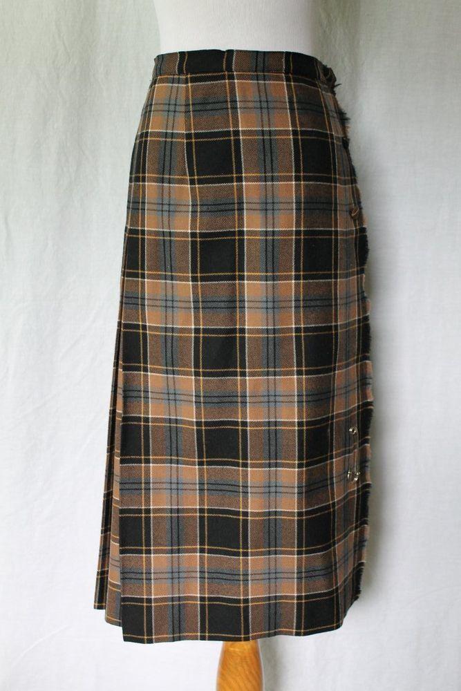 6d57147c05 Vintage Aljean of Canada Pleated New Wool Tartan Plaid Kilt Skirt XS 0 24  waist #Aljean #Pleated