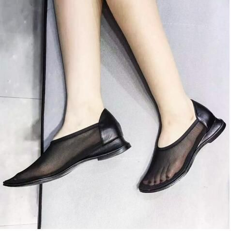 2016 New Breathable Mesh Shoes Woman Leather Wedge Sandals Deep Loafer Comfortable Lazy Shoes Summer Walking Flat Shoes