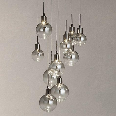 Bathroom Light Fixtures John Lewis dano led ombre glass ceiling light, 10 light, black/chrome | glass