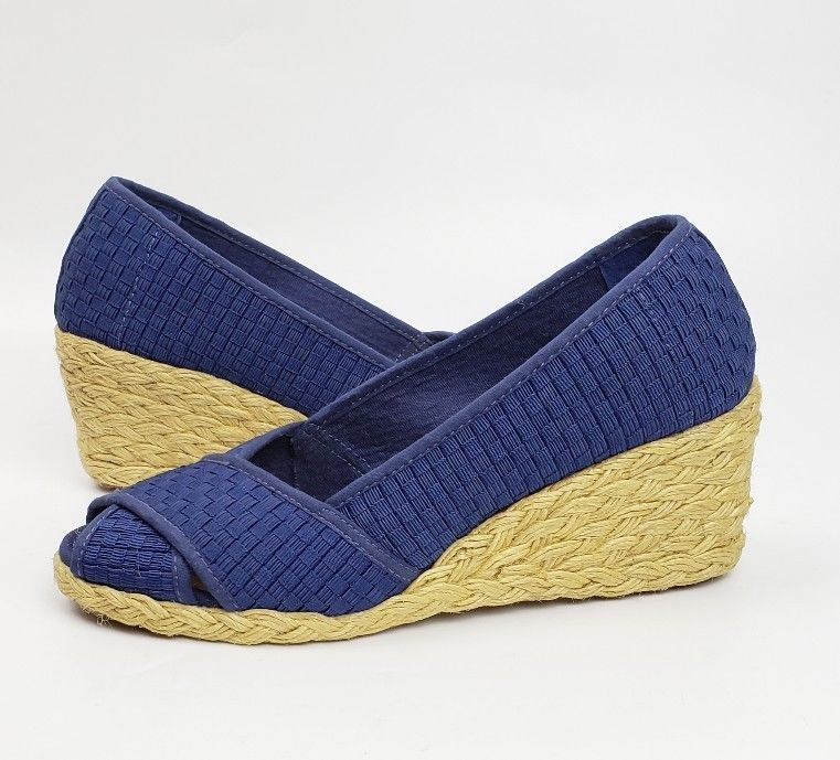 91573035f031 Lauren Ralph Lauren womens shoes 7.5 blue woven espadrille wedges Cecilia II   LaurenRalphLauren  Espadrilles  Casual