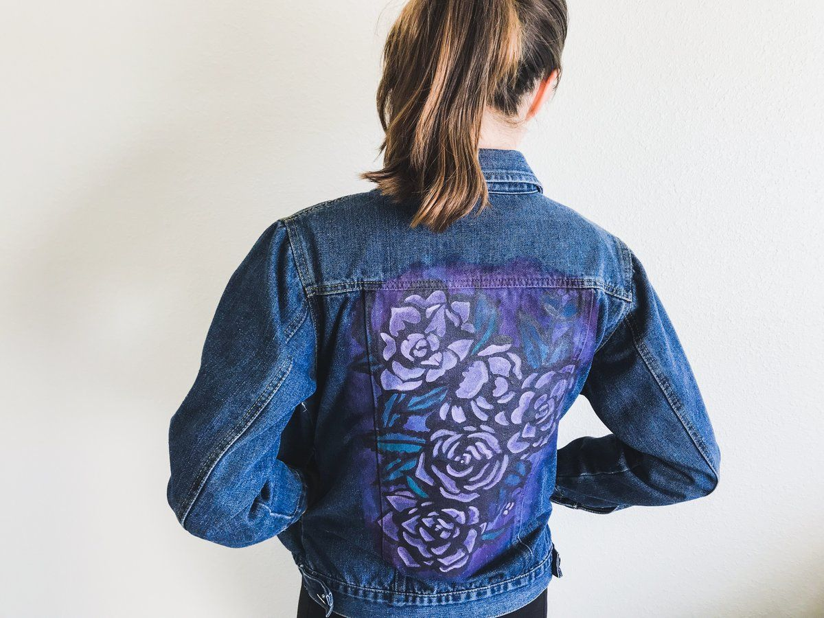 Purple Floral Jean Jacket Hand Painted Previously Loved Watercolor Denim Jacket Part Of The Launch Collection Painted Denim Jacket Jackets Denim Jacket [ 900 x 1200 Pixel ]