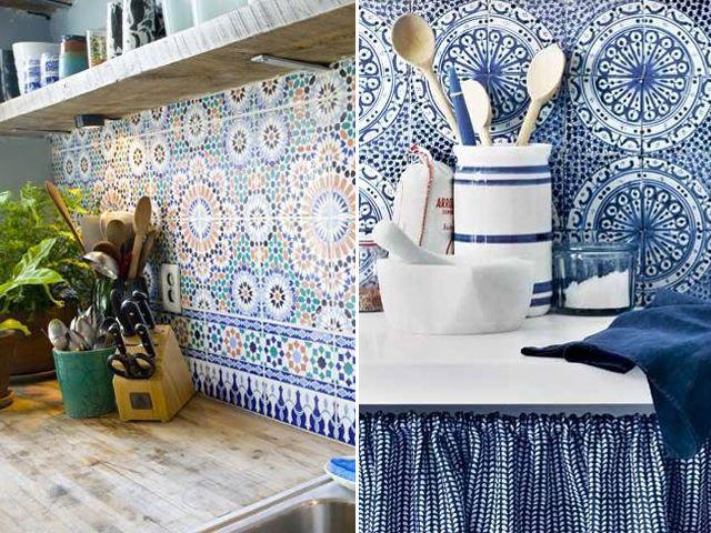 Pour La Cuisine Credence Carrelage Ancien Orientale Azulejos - Carrelage oriental cuisine pour idees de deco de cuisine
