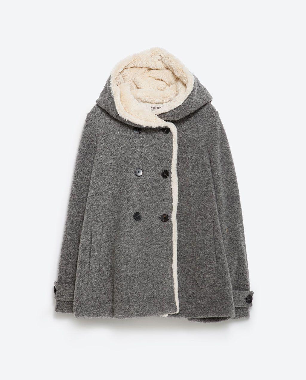 abrigo paño zara capucha capa