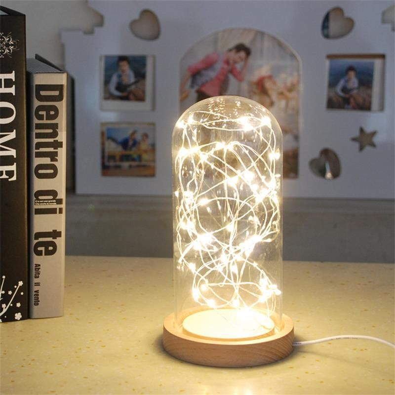 Fire Tree Silver Lantern Nordic Creative Small LED Lamp Wedding Birthday  Gifts With Plug DIY LED