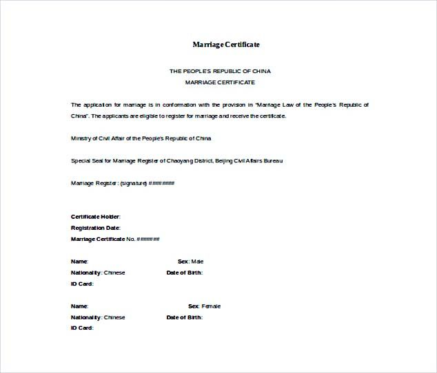 Doc Format Free Marriage Certificate Template , Selecting