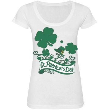 #StPatricksDay #Clovers & Hat #WhiteScoopneckTshirt by #MoonDreamsMusic
