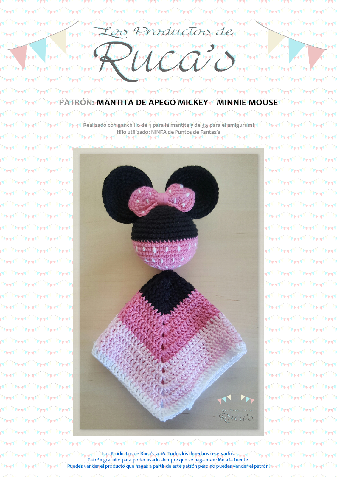 Reto Rucagurumis VI - Mantita de Apego Mickey / Minnie Mouse ...