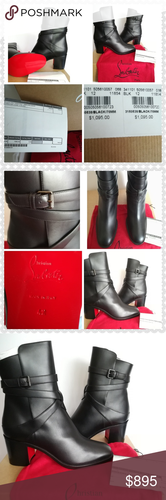 c1ccabcd294c CHRISTIAN LOUBOUTIN Karistrap Leather Ankle Boots ✓️NEW🌼Size 42 (US 12) but