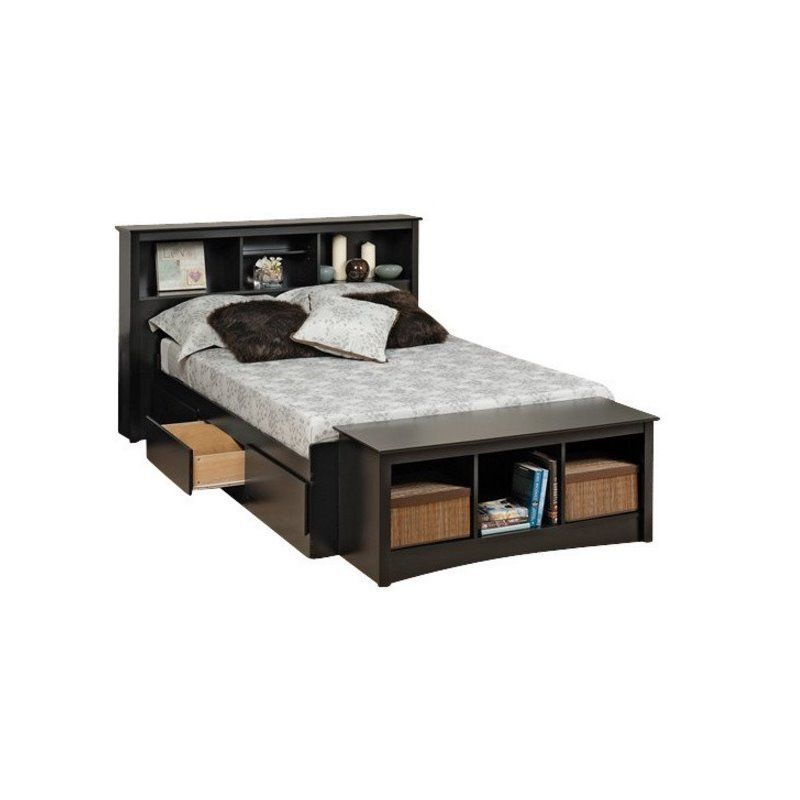 Bowery Hill Twin Xl Bookcase Platform Storage Bed Black Bedroom