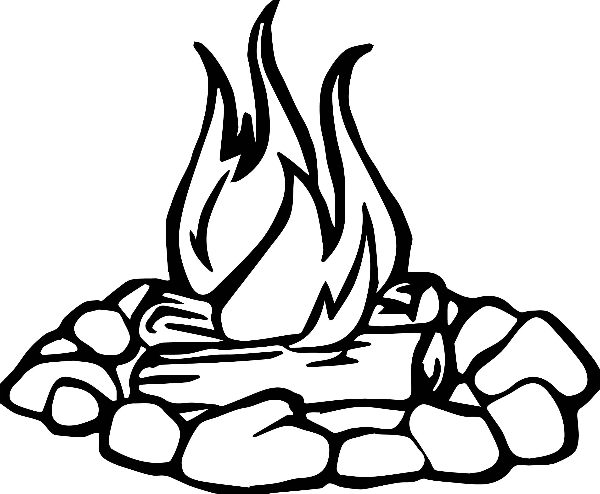 Nice Campfire Stone Camping Coloring Page