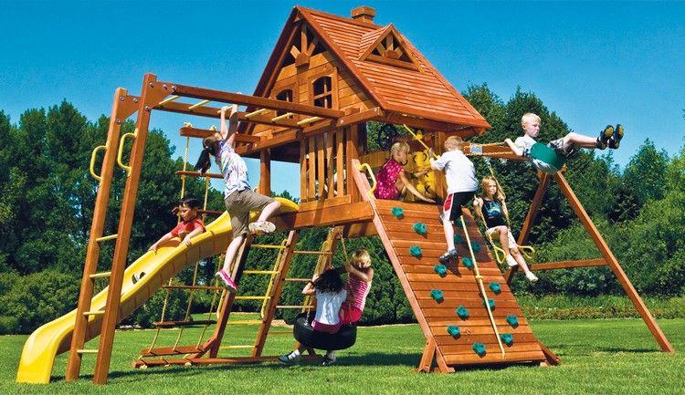 Aire de jeux enfant cabane en bois massif avec mur d - Cabane exterieur enfant ...