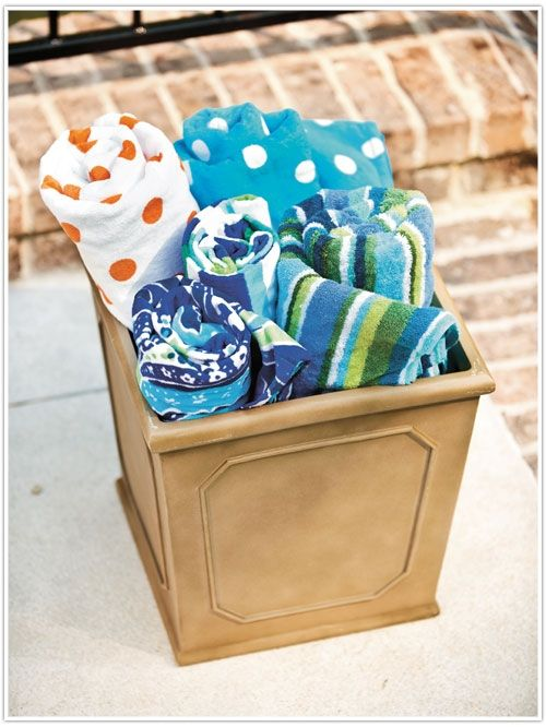 Great Idea for beach towels by the pool!