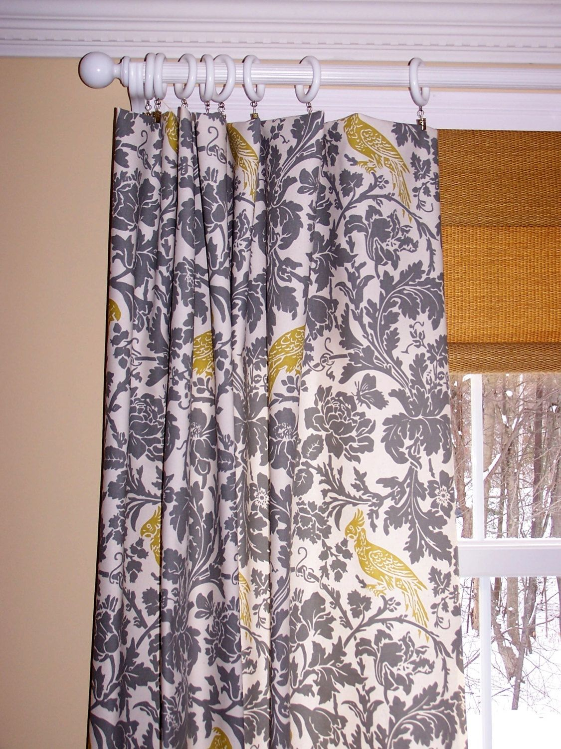 Grey Natural Damask Barber Birds Curtains Premier Fabric