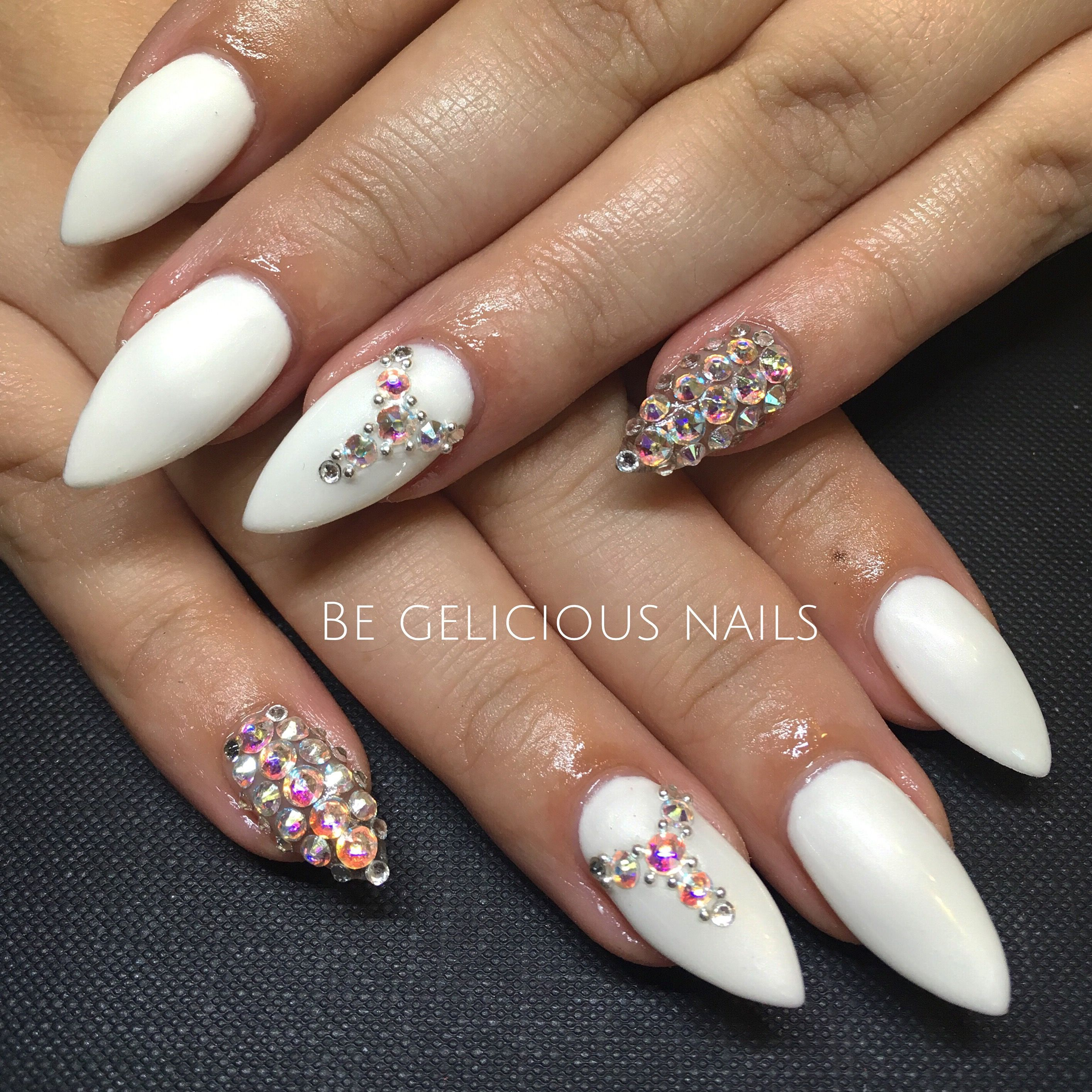 Calgel Nails, Gel, Nail Art, Nail Design, White, Swarovski