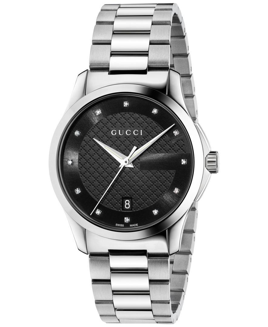 13463028b64 Unisex Swiss G-Timeless Diamond Accent Stainless Steel Bracelet ...