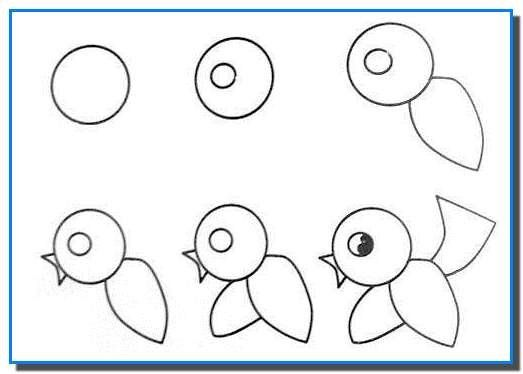 Easy Drawing For Kids Step By Birds Tutorial
