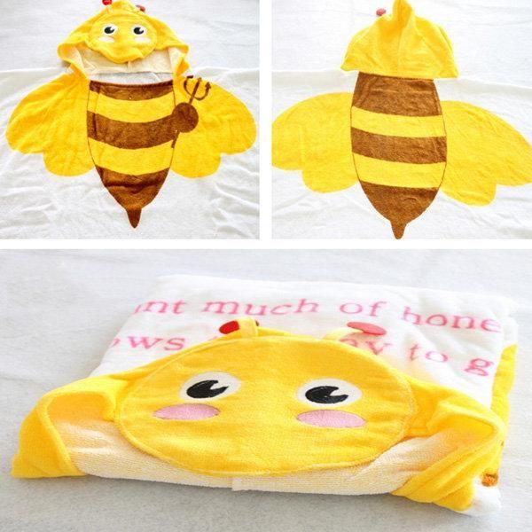 Baby Kids Cute Animal Design Cotton Hooded Bathrobe Towels Soft & Comfortable