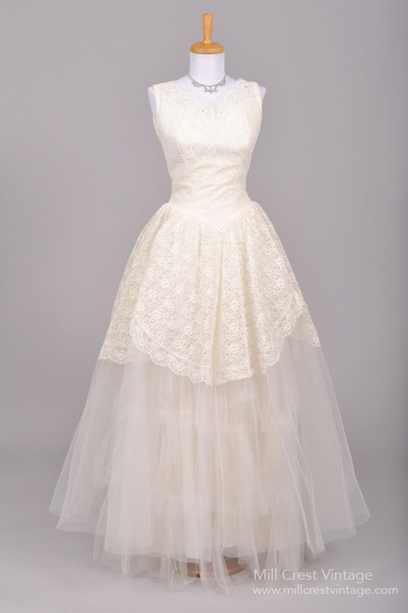 1950 S Vintage Wedding Dresses.1950 S Lace And Tulle Vintage Wedding Gown Mill Crest