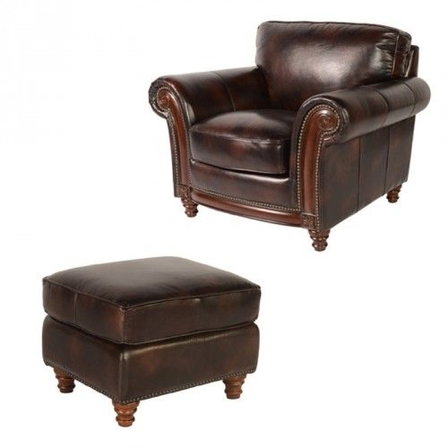 Marvelous Lazzaro Leather Whitaker Chair With Ottoman In Buckeye Lamtechconsult Wood Chair Design Ideas Lamtechconsultcom