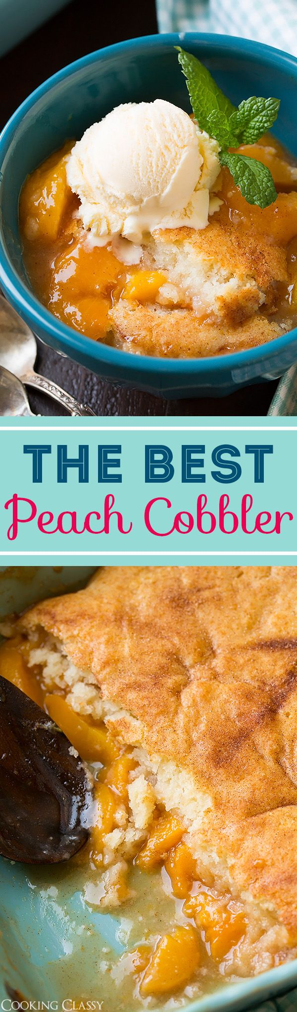 Peach Cobbler - I've tried so many different peach cobbler recipes and this one is hands down the BEST! Light and fluffy, perfectly buttery, packed with fresh peaches and simply delicious!