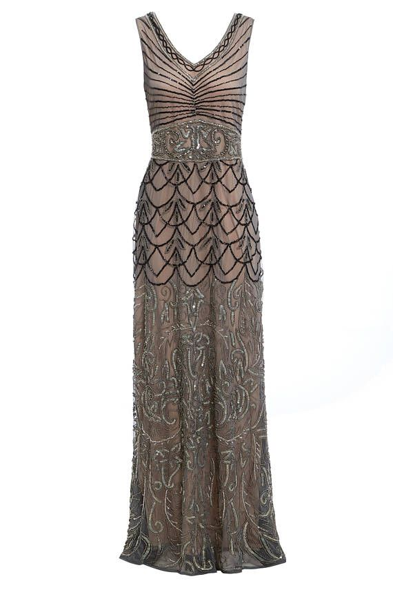 Eva Mocha Beaded Maxi Flapper Dress, 1920s Gatsby Inspired