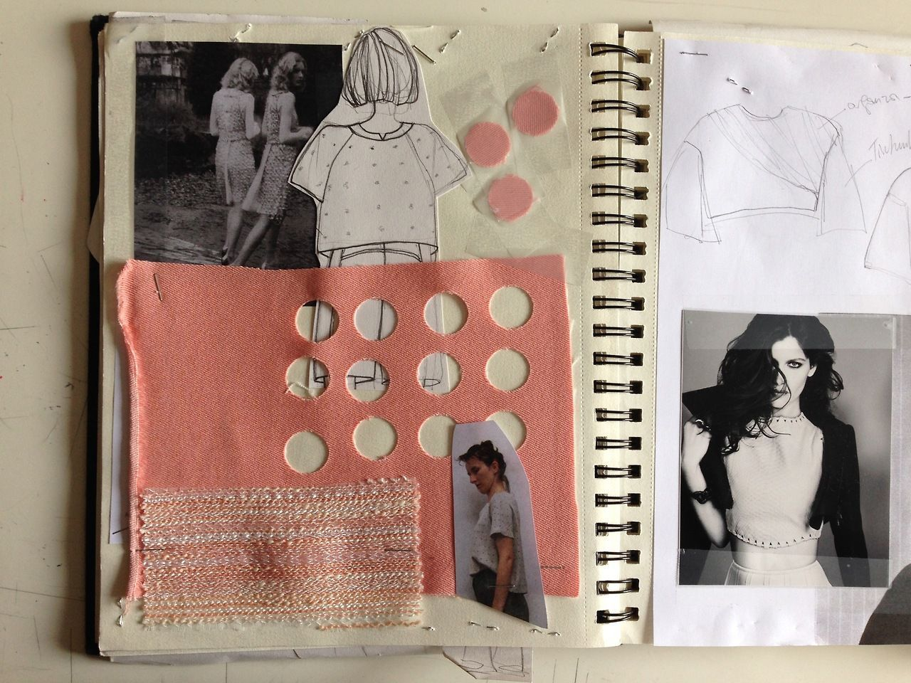 Sketchbook - fashion design process with research, sketching & fabric sampling; developing a fashion collection // Pitchouguina