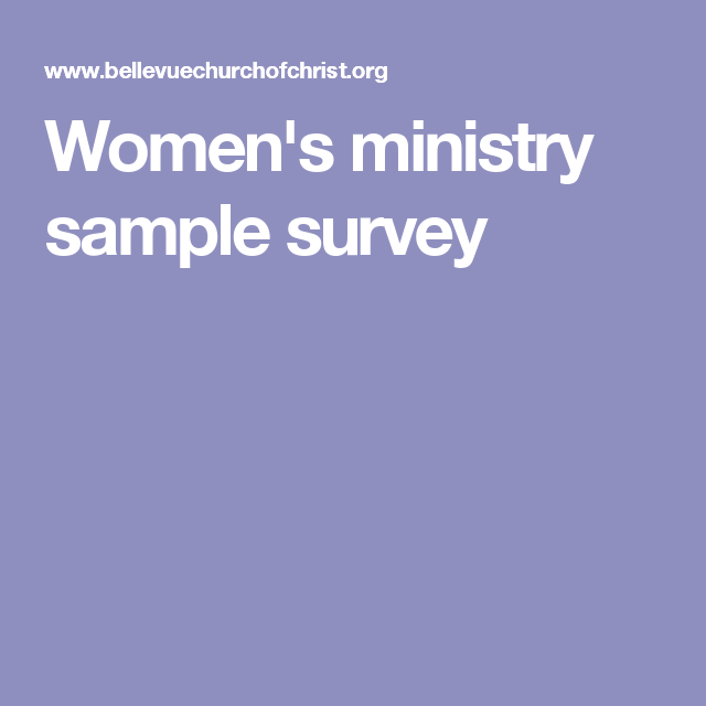 WomenS Ministry Sample Survey  Womens Ministry