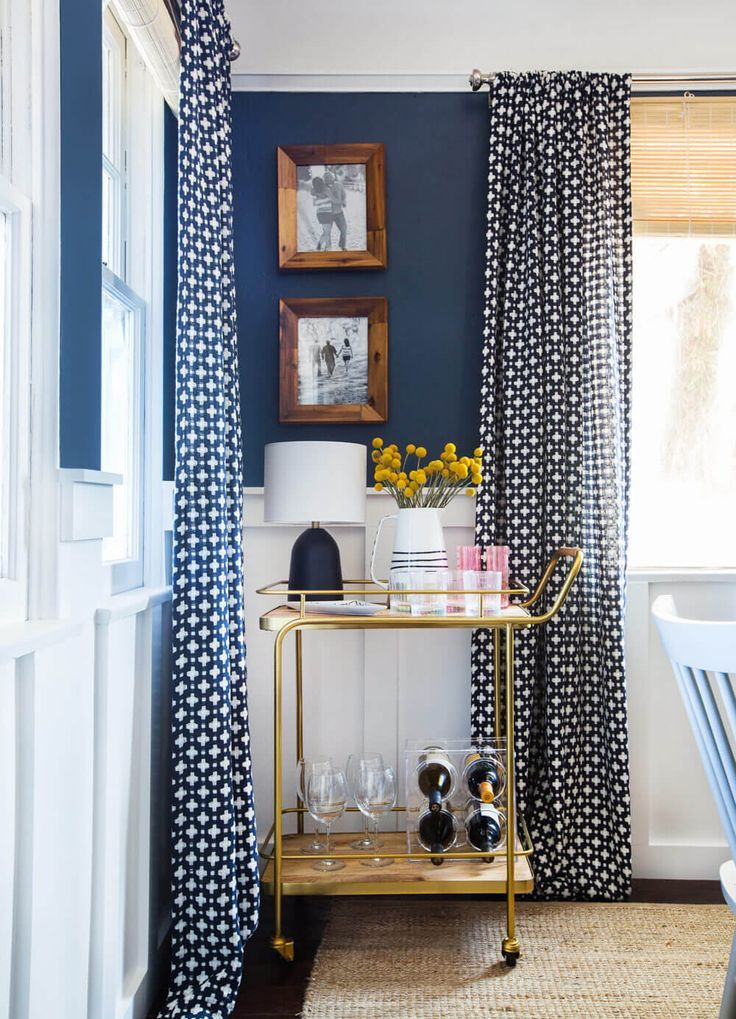 Navy Blue Dining Room With Polka Dot Curtains Pantone Sailor
