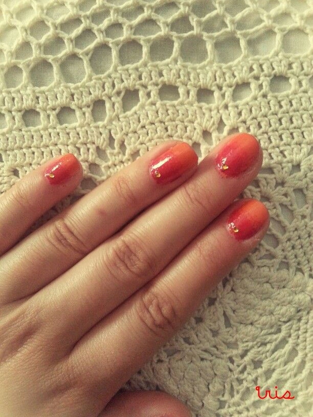 Red and orange/sunset nails