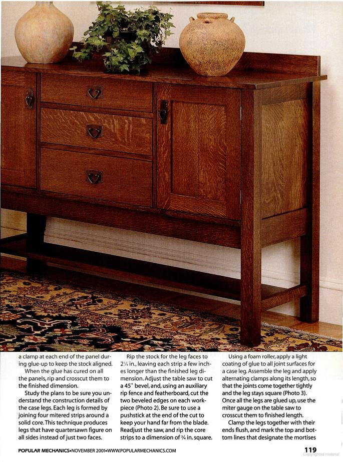 Popular Mechanics - Mission Sideboard | Woodworking desk ...
