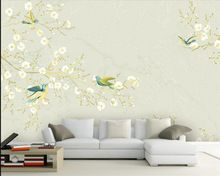 3d custom behang woondecoratie behang abstracte bloem en vogel foto ...