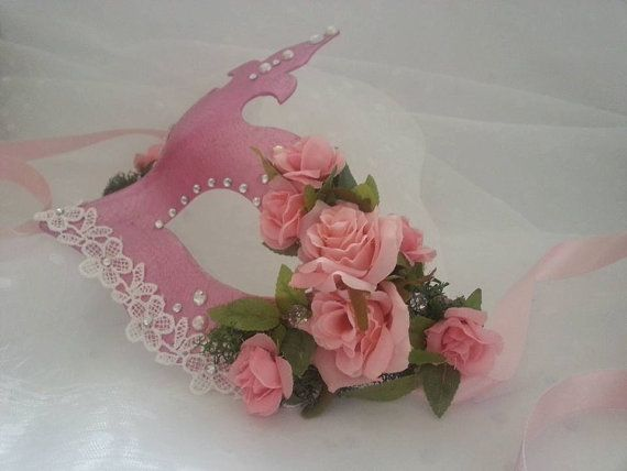Pink masquerade mask #fancy #dress #costume  #pink #roses #lace #chic #vintage #ladies #masked #ball #masquerade #pearls