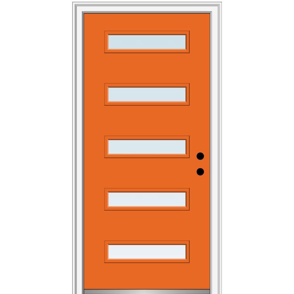 Mmi Door 32 In X 80 In Davina Left Hand Inswing 5 Lite Clear Painted Fiberglass Smooth Prehung Front Door 4 9 16 In Frame Z0346425l Frosted Glass Paint Aluminum Screen Doors Prehung Doors