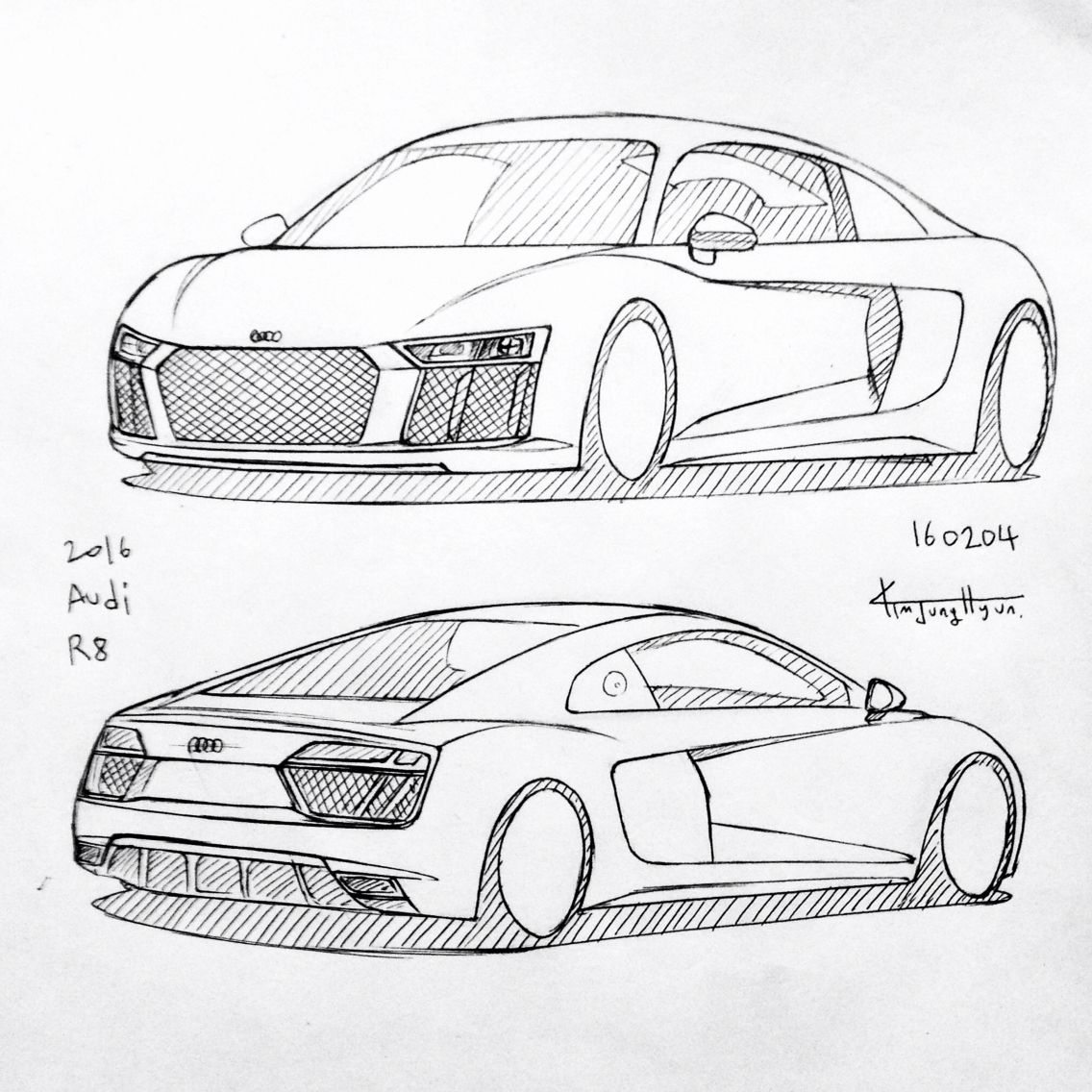 Car Drawing Audi R Prisma On Paper KimJH Daily - Audi car drawing
