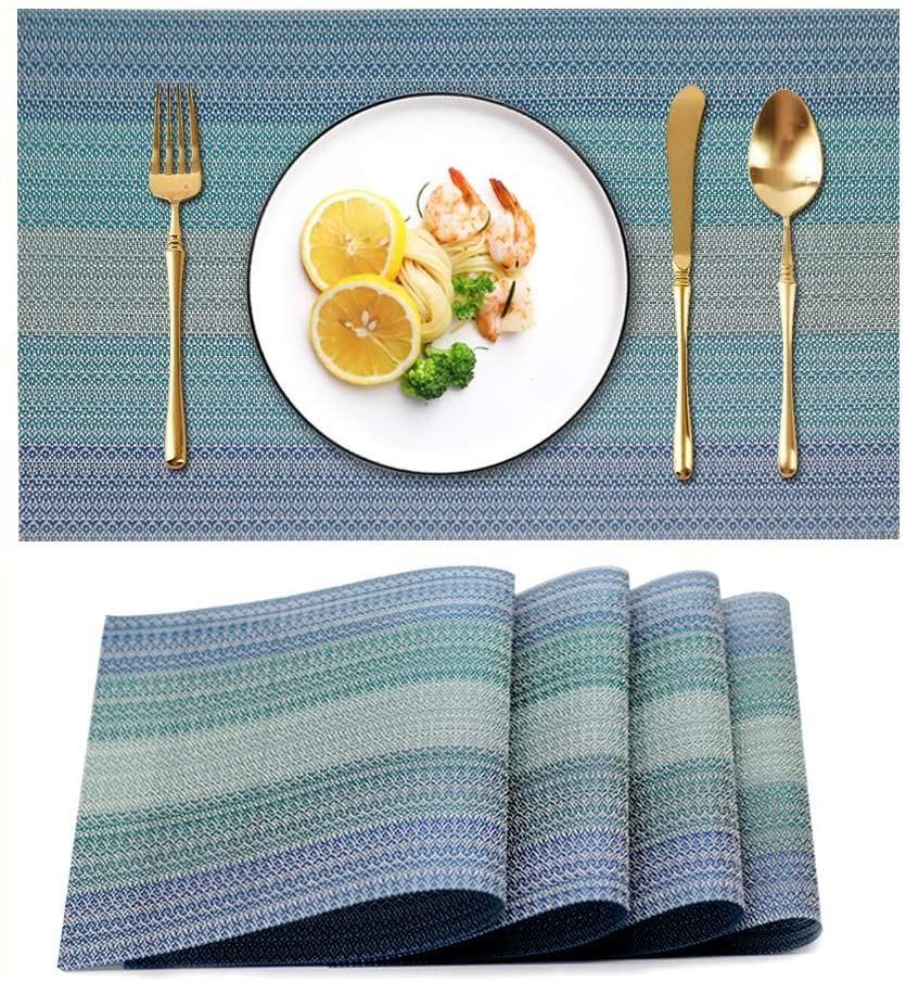 Candumy Placemat Blue Vinyl Table Mats Set Of 4 Pvc Heat Resistant Anti Skid Washable Non Slip Placemats Blue Vinyl Woven Placemats
