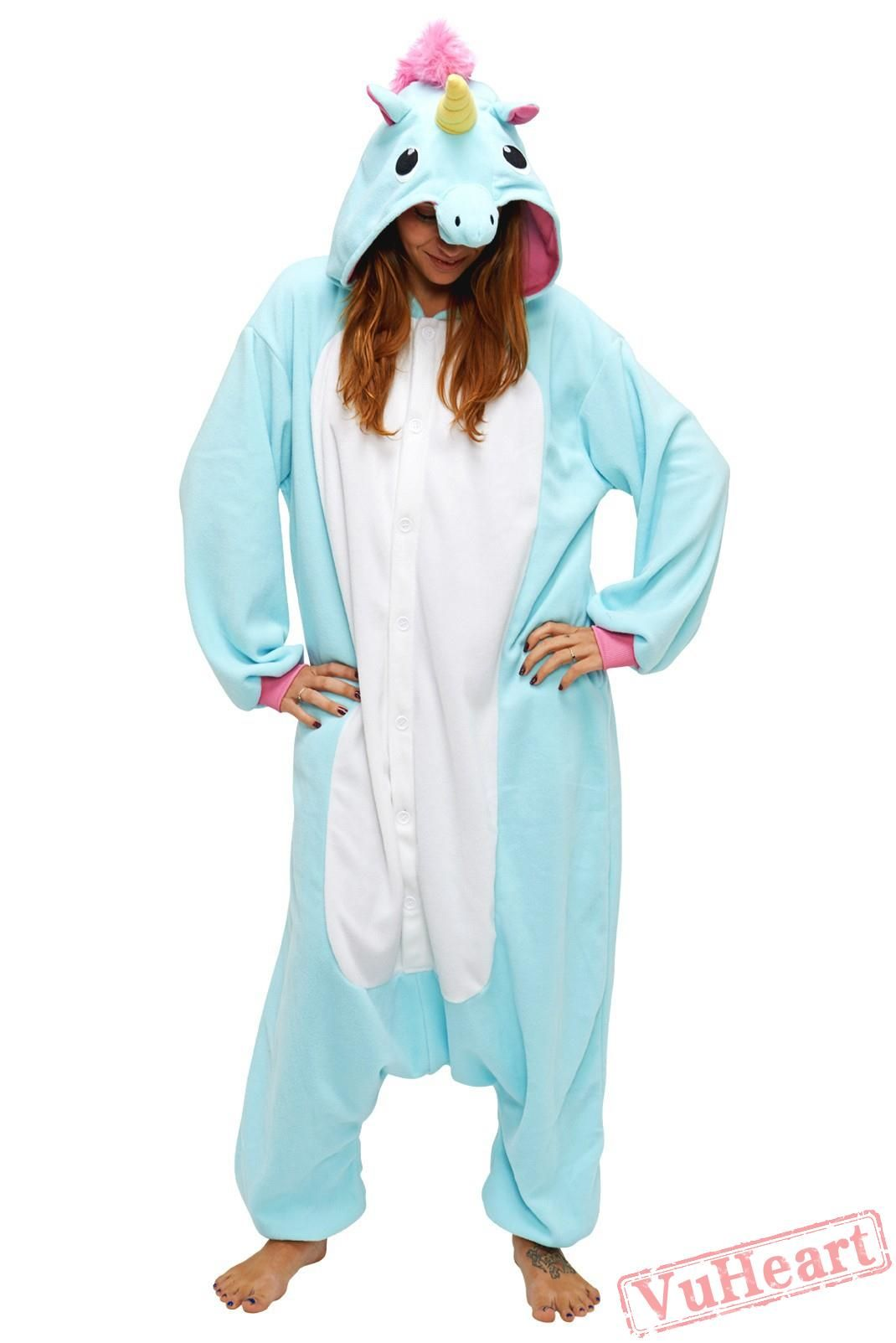 506ed7906f3f Blue Unicorn Kigurumi Onesies Pajamas Costumes for Women   Men in ...