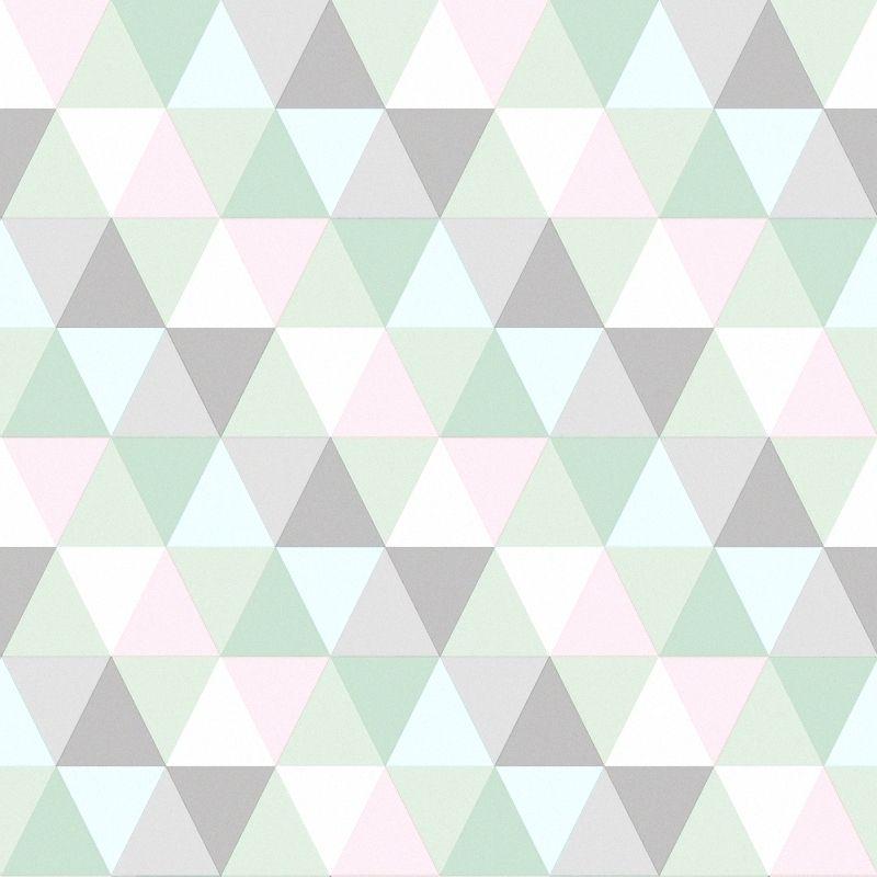 Vliestapete Triangle Mint Rosa Grau Kinderzimmer Mint