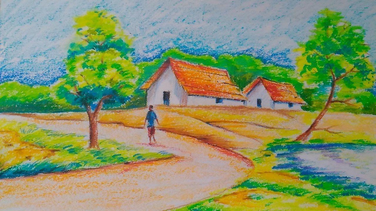 Village Landscape Easy Drawing Tutorial For Kids Oil Pastels