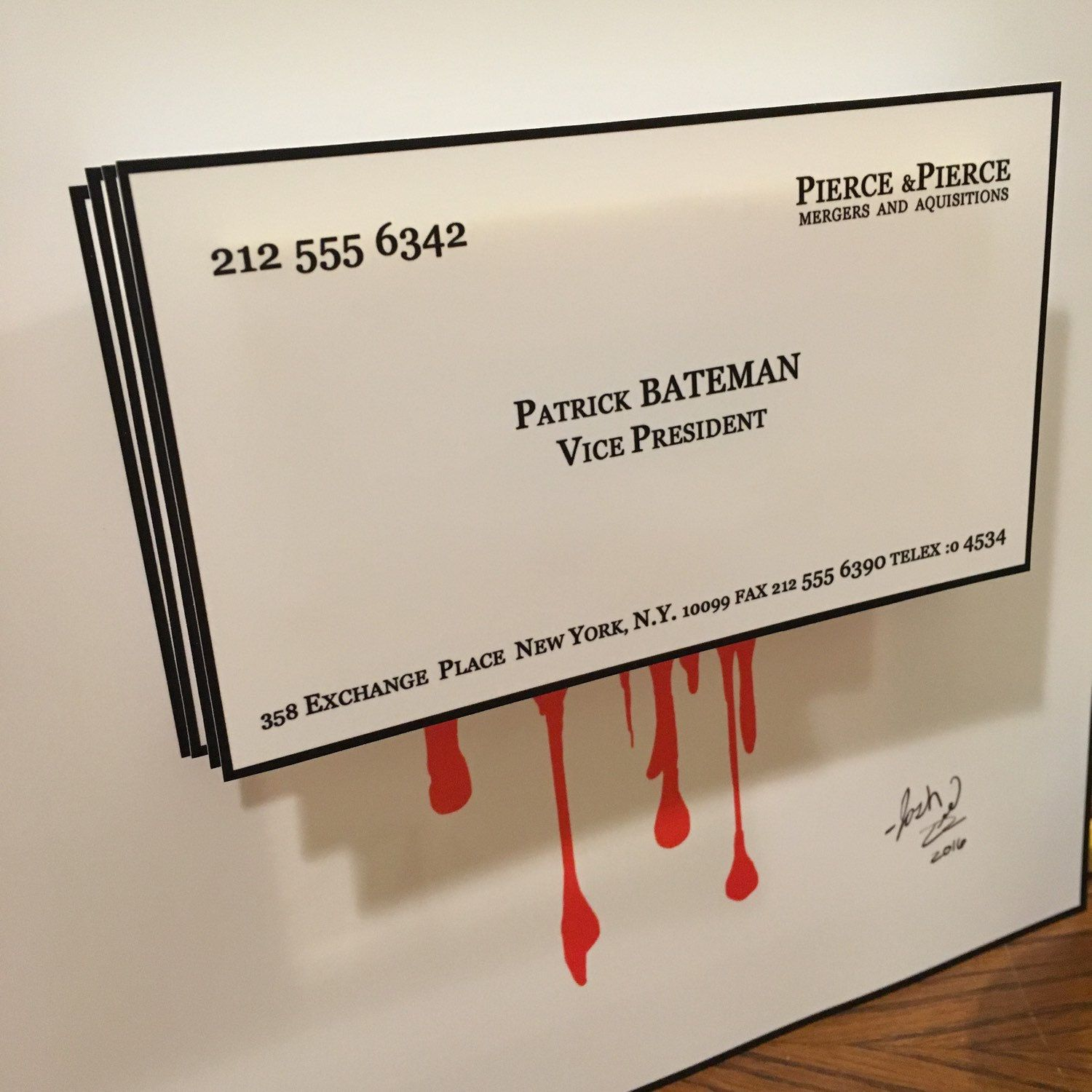 American Psycho Patrick Bateman Business Card 3D Art