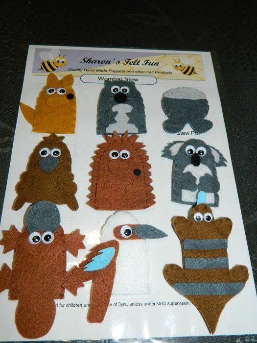 Wombat Stew Set Felt Finger Puppets And Hand Puppets