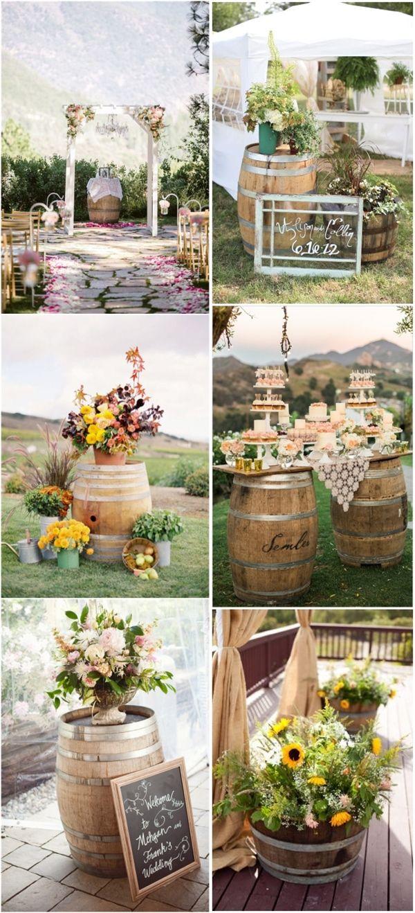Another rustic wine barrels wedding decor ideas wine barrels