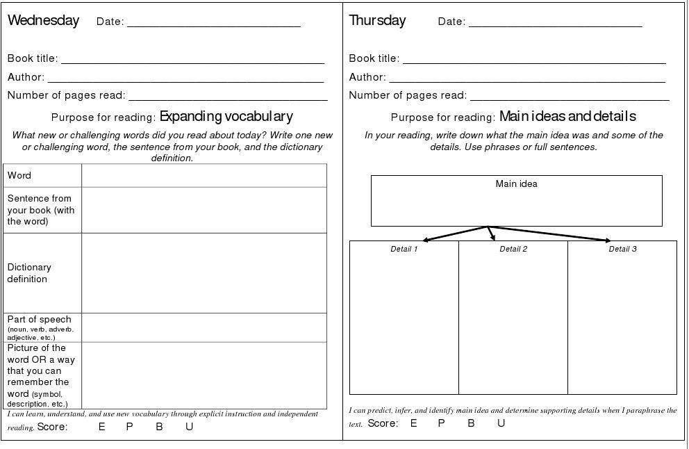 Descriptive reading log examples | Reading | Pinterest | Reading ...