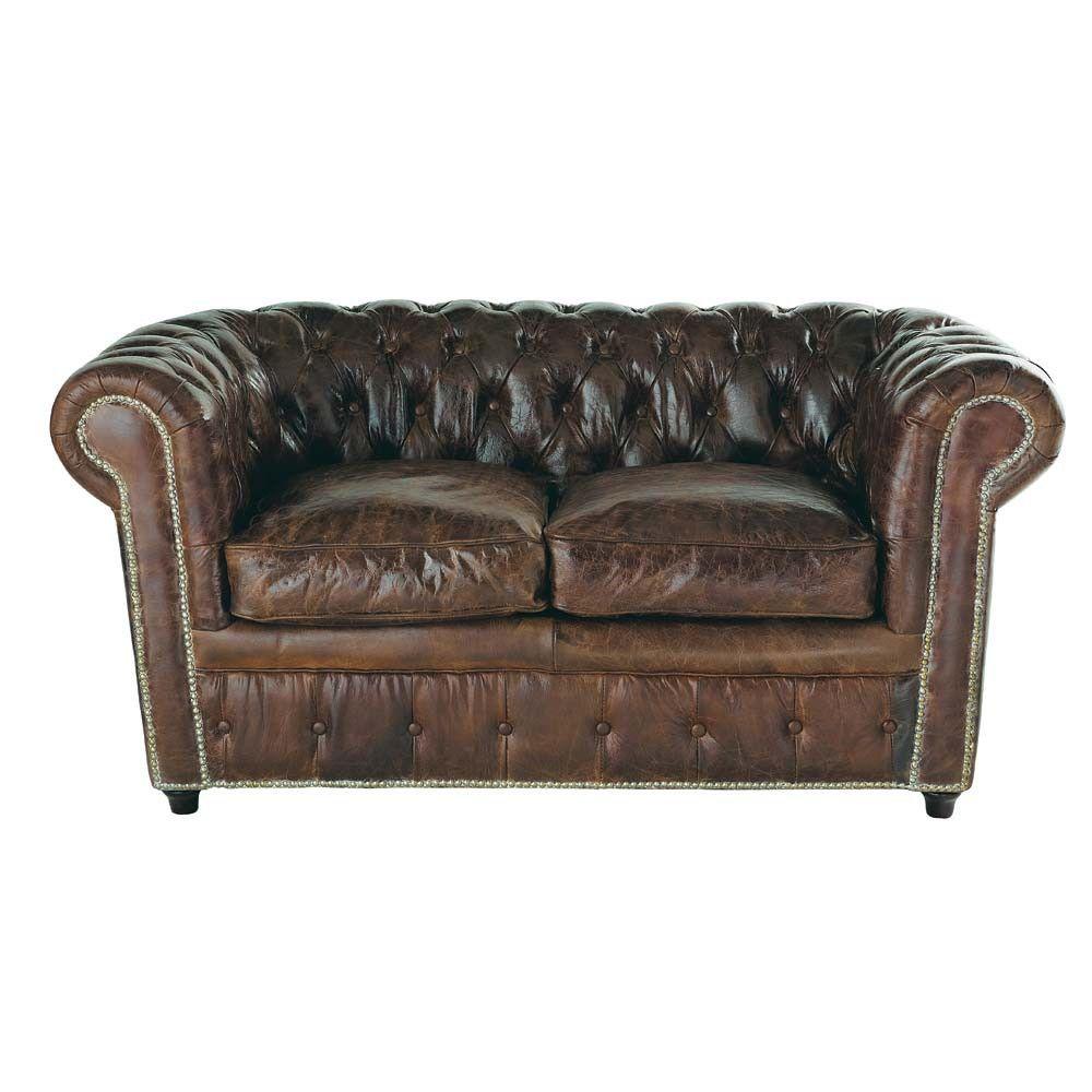 Canape Capitonne 2 Places En Cuir Marron Chesterfield Vintage Sofa Button Sofa